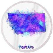 Montana Map Watercolor 2 Round Beach Towel