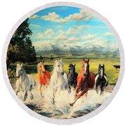Montana Range Horses Round Beach Towel