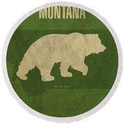 Montana State Facts Minimalist Movie Poster Art Round Beach Towel