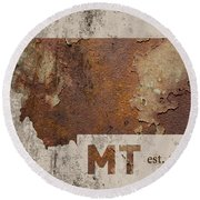 Montana State Map Industrial Rusted Metal On Cement Wall With Founding Date Series 041 Round Beach Towel