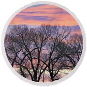 Round Beach Towel featuring the photograph Montana Sunrise Tree Silhouette by Jennie Marie Schell