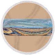 Montana View Mirror Round Beach Towel by Aliceann Carlton