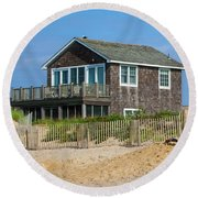 Round Beach Towel featuring the photograph Montauk Beach Life by Art Block Collections