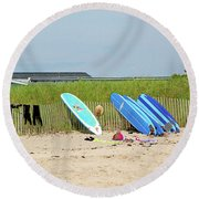 Round Beach Towel featuring the photograph Montauk Beach Stuff by Art Block Collections