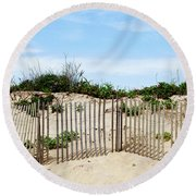 Round Beach Towel featuring the photograph Montauk Dunes by Art Block Collections