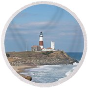 Montauk Lighthouse View From Camp Hero Round Beach Towel