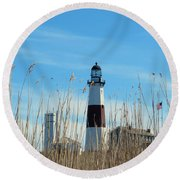 Montauk Point Lighthouse-3 Round Beach Towel