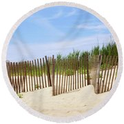 Round Beach Towel featuring the photograph Montauk Sand Fence by Art Block Collections