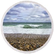 Montauk Shore Break Round Beach Towel