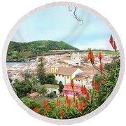 Monte Brasil And Angra Do Heroismo, Terceira Round Beach Towel by Kelly Hazel
