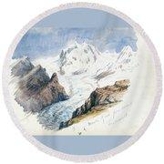 Monte Rosa From Hornli, Zermatt Round Beach Towel