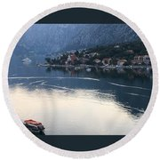 Montenegro Bay Of Kotor Round Beach Towel
