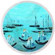Monterey Boats Round Beach Towel