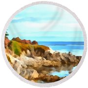Round Beach Towel featuring the photograph Monterey Coastline Watercolor by Floyd Snyder