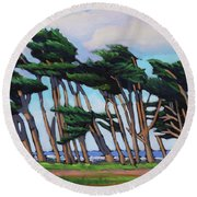 Monterey Cypress Row  Round Beach Towel