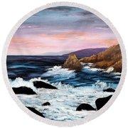 Monterey Sunrise Round Beach Towel by Laura Iverson