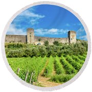Round Beach Towel featuring the photograph Monteriggioni by Fabrizio Troiani
