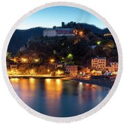 Round Beach Towel featuring the photograph Monterosso Al Mare At Twilight by Brian Jannsen
