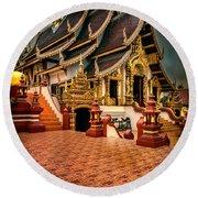 Monthian Temple Chiang Mai  Round Beach Towel