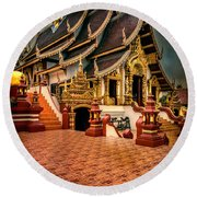 Round Beach Towel featuring the photograph Monthian Temple Chiang Mai  by Adrian Evans
