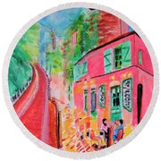 Montmartre Cafe In Paris Round Beach Towel