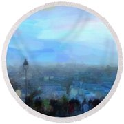 Montmartre From The Butte Round Beach Towel
