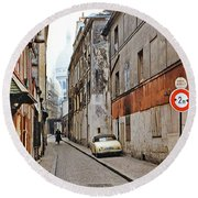 Round Beach Towel featuring the photograph Montmartre - Titled by Chuck Staley
