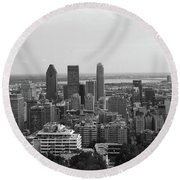 Montreal Cityscape Bw Round Beach Towel