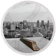 Montreal Cityscape Bw With Color Round Beach Towel