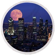 Round Beach Towel featuring the photograph Montreal Supermoon by Mircea Costina Photography