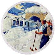Montreux, Berner Oberland Railway, Switzerland, Winter, Ski, Sport Round Beach Towel