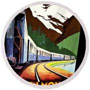 Montreux, Golden Mountain Railway, Switzerland Round Beach Towel