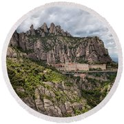 Montserrat Mountains And Monastery In Spain Round Beach Towel
