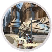 Monument Park Round Beach Towel by Hal Tenny