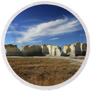 Monument Rock Afternoon  Round Beach Towel