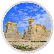 Monument Rocks In Kansas 2 Round Beach Towel