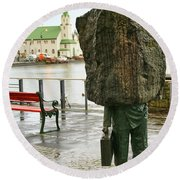 Monument To The Unknown Official Bureaucrat 7203 Round Beach Towel