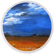 Monument Valley Clouds Round Beach Towel