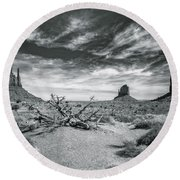 Round Beach Towel featuring the photograph Monument Valley by Lou Novick