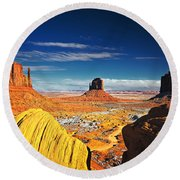 Monument Valley Mittens Utah Usa Round Beach Towel by Sam Antonio