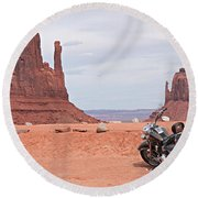 Monument Valley Motorcycle Round Beach Towel