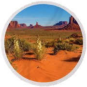 Round Beach Towel featuring the photograph Monument Valley by Norman Hall