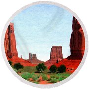 Monument Valley North Window Round Beach Towel