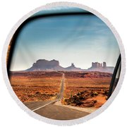 Monument Valley Rearview Mirror Round Beach Towel