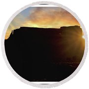 Round Beach Towel featuring the photograph Monument Valley, Utah, Sunrise by A Gurmankin