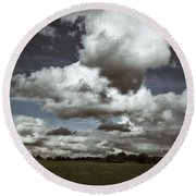 Moodiness In The Clouds Round Beach Towel by Karen Stahlros