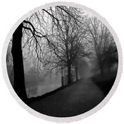 Round Beach Towel featuring the photograph Moody And Misty Morning by Inge Riis McDonald