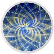 Round Beach Towel featuring the digital art Moody Blue by Carolyn Marshall