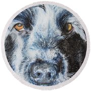 Moody Blue Round Beach Towel
