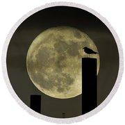 Moody Moonrise Round Beach Towel